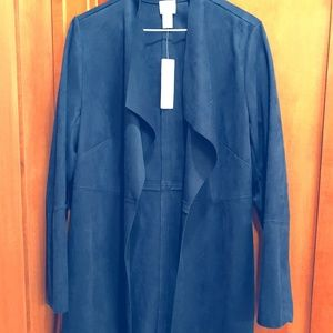 CHICO'S Faux Suede Long Jacket, Size 0, Navy, New